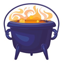 Orange boiling cauldron icon. Cartoon of orange boiling cauldron vector icon for web design isolated on white background
