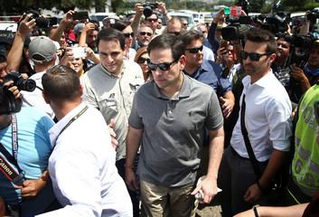 U.S. Senator Marco Rubio visits the Colombia-Venezuela border at the Simon Bolivar International Bridge on the outskirts of Cucuta