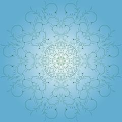 Ethnic seamless nature pattern ornament. Green leaves art mandala circle. Vector pattern.