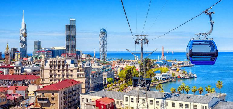 Batumi city, Georgia, panoramic view of the skyline and port