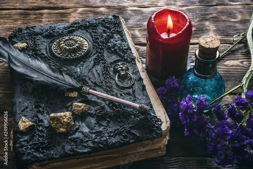 Spell book, magic potions and other various witchcraft