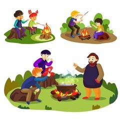 Marshmallow banner set. Cartoon illustration of marshmallow vector banner set for web design