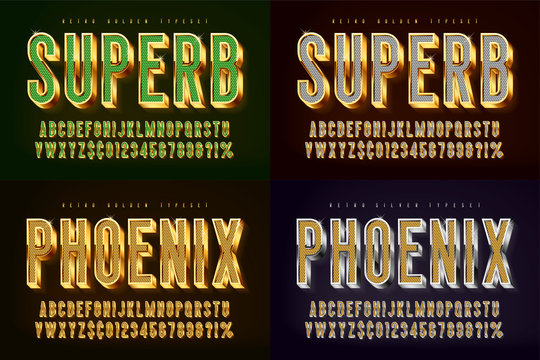 Golden 3d shining font, gold letters and numbers.