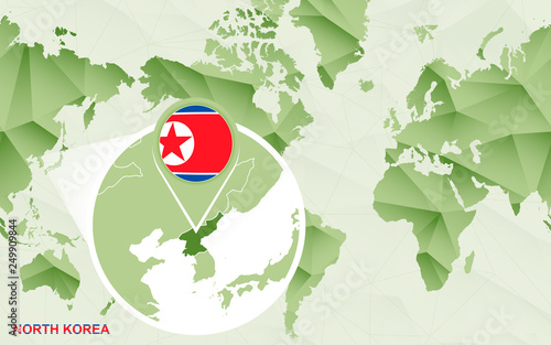 America centric world map with magnified North Korea map ...