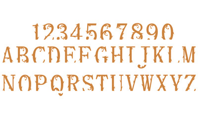 Brown clipped vintage font isolated on white background.