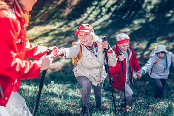 Active retired people hiking in natural park all together Wall mural