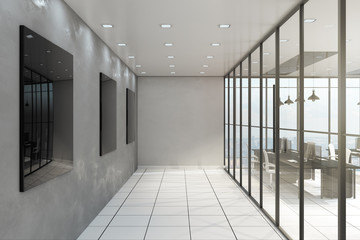 Contemporary office corridor interior