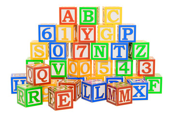 ABC Alphabet Wooden Blocks. 3D rendering