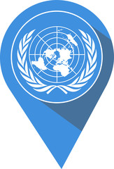 pin flag with the United Nations pictogram