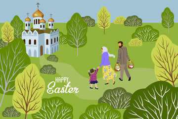 Happy Easter. Family with a child going to an Orthodox church to consecrate eggs and cakes. Horizontal Vector