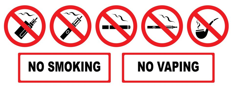No smoking. No vaping. Set prohibition icons