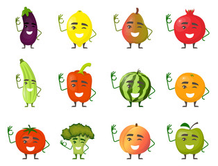 Fruits and vegetables cartoon characters with hands and legs smile and show gesture OK. Cheerful fruit and vegetable characters in flat design. Vector illustration.