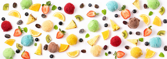 Berries and ice cream balls on white background. Summer concept. Banner