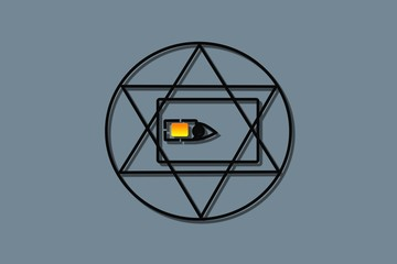 sim card  all-seeing eye, triangle in circle of eternity, masonic symbol, symbolizing the Great Architect of the Universe, observing all people, grey background
