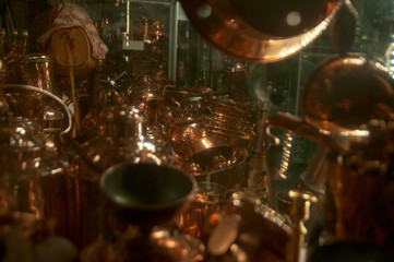 Scandinavian shop full of copper pots and pans
