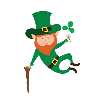 Joyful jumping leprechaun with clover in his hand.  Illustration for Saint Patrick Day.