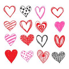 Doodle love heart Valentines Day vector set