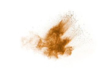Brown color powder explosion on white background. Colored cloud. Colorful dust explode. Paint Holi.