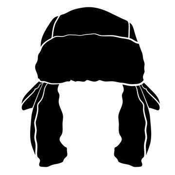 Black and White Trapper Cap Hat Vector Illustration Icon Symbol Graphic