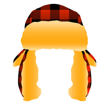 Red and Black Checkered Plaid Flannel Trapper Cap Hat Vector Illustration Icon Symbol Graphic