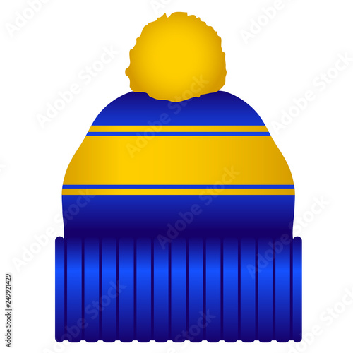 b9d8cdc3 Blue and Yellow Puff Ball Stocking Cap Beanie Hat Vector Illustration Icon  Symbol Graphic