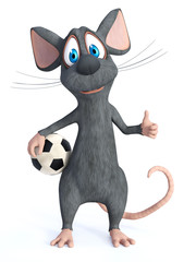 3D rendering of a cartoon mouse posing with soccer ball.