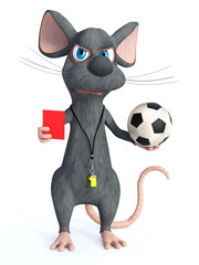 3D rendering of a cartoon mouse as soccer referee.