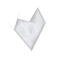 White crooked abstract heart with waving effect.