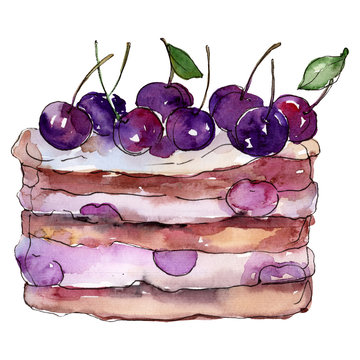 Tasty cake with cherry in a watercolor style isolated. Aquarelle sweet dessert. Background illustration set.