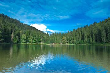 Spoed Foto op Canvas Khaki Carpathian mountain sunny landscape