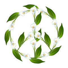 Peace Symbol, Peace Sign, Calla lily, Zantedeschien, Zantedeschia, Arum Lilies, Cantedeskia, kalijka, kalia.