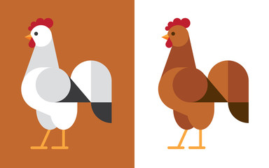 Wall Mural - White and brown rooster flat icon.