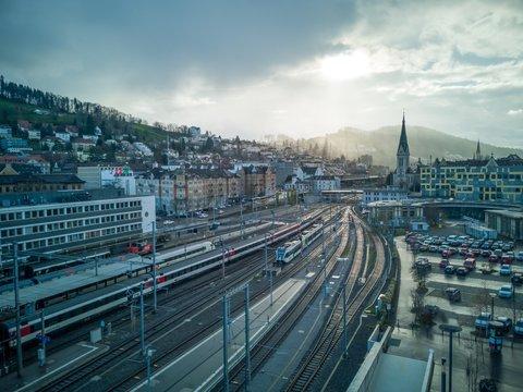 Railway station in St. Gallen, Switzerland