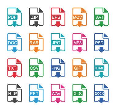 File format icons set. Vector illustration