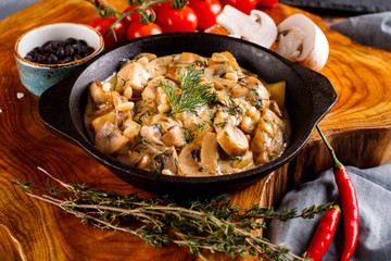 Mushrooms in cream sauce, julienne, champignon, products for cooking