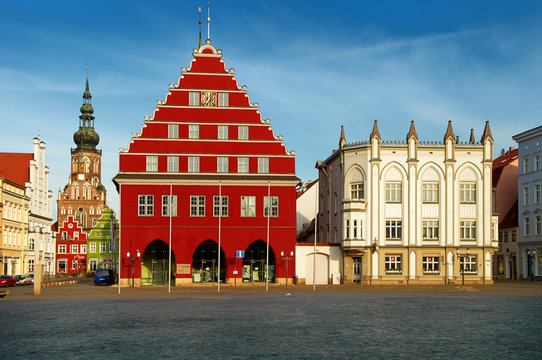 old market with town hall of city of Greifswald