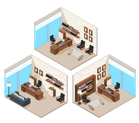 isometric vector image of office, business premises, work space and interior