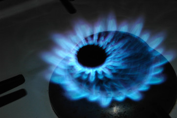 natural gas flame in kitchen