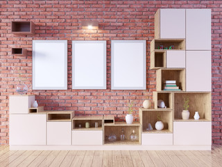 Modern bright interior with empty frame . 3D rendering. illustration
