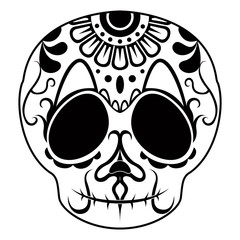 Outline of a happy mexican skull cartoon. Vector illustration design