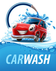 car wash banner with water wave