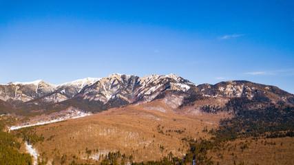 Winter landscapes over the Carpathian mountains peaks