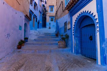 Foto op Canvas Marokko Chefchaouen streets