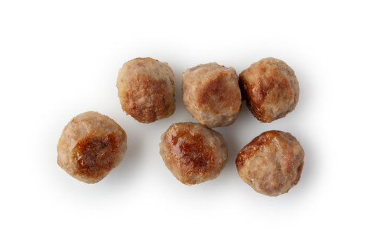 Grilled meatballs on white isolated background