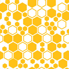 Geometric seamless pattern with yellow honeycomb. Vector illustration