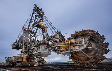 Enormous bucket wheel excavator at an open cut coal mine in Victoria, Australia