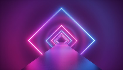 3d render, neon, light, rhombus, virtual reality, square, esoteric, portal, tunnel, corridor, ultraviolet, abstract, background, laser, show, fashion, podium, path, way, stage, road, floor, reflection