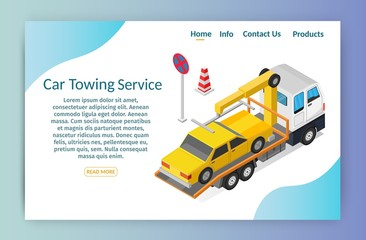 Isometric low poly Tow truck city road assistance service evacuator of Online car help design vector background illustration banner