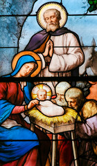 Wall Mural - Nativity Scene at Christmas - Stained Glass