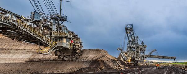 Enormous bucket wheel excavator at an open cut coal mine in Victoria, Australia